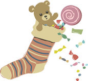 Epiphany. Sheath of a witch with teddy, sweets, lollipops and candy vector illustration