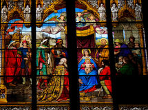 Epiphany. Church window in the Dom of Cologne, Germany, depicting the Adoration of the Magi (Epiphany) and the Adoration of the shepherds Royalty Free Stock Photography