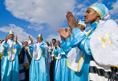 Epiphany. QASER EL YAHUD , ISRAEL - JAN 19 : Unidentified Ethiopian orthodox Christians  participates in the baptising ritual during the epiphany at Qaser el Stock Image