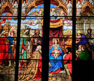 Epiphany - Adoration of the Magi. Stained Glass in Dom of Cologne, Germany Stock Photo