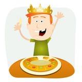 Epiphany Cake. Illustration of a cartoon child eating a cake for epiphany holidays vector illustration