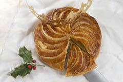 Epiphany cake galette des rois , king cake. Epiphany cake king cake with crown Royalty Free Stock Images