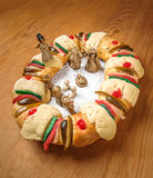 Epiphany cake, Kings cake, Rosca de reyes or Roscon de reyes Royalty Free Stock Photos