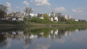 Epiphany Cathedral on the banks of the Western Dvina river. Polotsk, Belarus. Epiphany Cathedral on the banks of the Western Dvina river, April day. Polotsk stock video footage