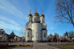 The Epiphany Cathedral  in Gorlovka, Ukraine. The Orthodox Church - Epiphany Cathedral  in Gorlovka, Ukraine. View from East side Stock Photo
