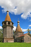 Epiphany church and belfry near Kargopol Royalty Free Stock Images