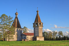Epiphany church and belfry at sunset near Kargopol Stock Images