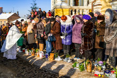 Epiphany Day 2017 Celebration in Uzhgorod Stock Image