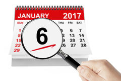 Epiphany Day Concept. 6 January 2017 calendar with magnifier Royalty Free Stock Photos