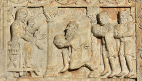 Epiphany de tre vise männenbesök Jesus Christ royaltyfria foton