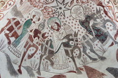 Epiphany. Gothic wall painting of the Christmas Gospel Stock Photo