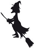 Epiphany or halloween. Silhouette of halloween witch or epiphany Stock Images