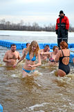 Epiphany i den Dnieper floden i Kiev, Ukraina, Royaltyfria Bilder