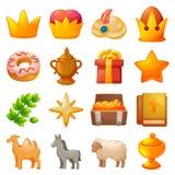 Epiphany icon set, cartoon style royalty free illustration