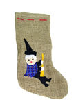 Epiphany Jute Sock With Black Befana Patch Royalty Free Stock Images