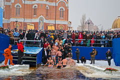 Epiphany (Kreshchenya) morning near Svjato-Pokrovskiy Cathedral, Kiev, Ukraine. Royalty Free Stock Photography