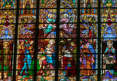 Epiphany Stained Glass - Three Kings Stock Photo