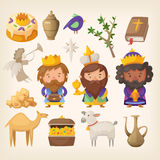 Epiphany. Three kings and colorful elements for Epiphany day Stock Photos