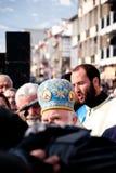 Epiphany (Vodici, Bogojavlenje) in Macedonia. STRUGA, MACEDONIA - JANUARY 19, 2012: An orthodox priest during the Epiphany (Vodici, Bogojavlenje, commemoration Royalty Free Stock Photos