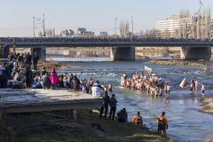 Epiphanyritual i Plovdiv, Bulgarien Arkivfoton