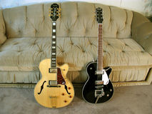 Epiphone Emperor and Gretsch Pro Jet. Electric guitars Royalty Free Stock Photography