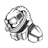Episch en ongebruikelijk karakter in een gasmasker stock illustratie