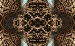 Epische abstracte fantastische affiche of achtergrond Futuristische mening van binnenuit van fractal Patroon in vorm van pijlen Royalty-vrije Stock Afbeelding