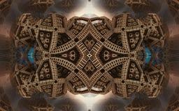 Epische abstracte fantastische affiche of achtergrond Futuristische mening van binnenuit van fractal Patroon in vorm van pijlen Stock Foto