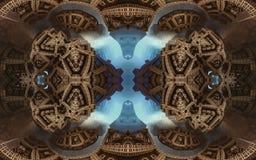 Epische abstracte fantastische affiche of achtergrond Futuristische mening van binnenuit van fractal Patroon in vorm van pijlen Stock Foto's