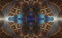 Epische abstracte fantastische affiche of achtergrond Futuristische mening van binnenuit van fractal Patroon in vorm van pijlen Royalty-vrije Stock Foto