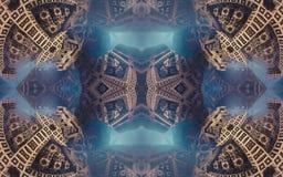 Epische abstracte fantastische affiche of achtergrond Futuristische mening van binnenuit van fractal Patroon in vorm van pijlen Stock Fotografie