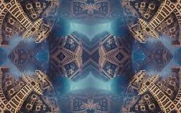 Epische abstracte fantastische affiche of achtergrond Futuristische mening van binnenuit van fractal Patroon in vorm van pijlen Royalty-vrije Stock Afbeeldingen