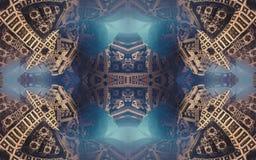 Epische abstracte fantastische affiche of achtergrond Futuristische mening van binnenuit van fractal Patroon in vorm van pijlen Stock Afbeeldingen