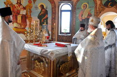 The Episcopal Liturgy at the Cathedral of the city of Gomel. Stock Photos