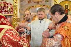 The Episcopal Liturgy at the Cathedral of the city of Gomel. Royalty Free Stock Photography