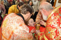 The Episcopal Liturgy at the Cathedral of the city of Gomel. Stock Photo