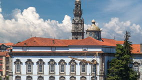 Episcopal Palace and Clerigos Church bell tower stock footage