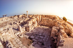 The Episcopal Precinct of Kourion illuminated by the last sunlight. Limassol District, Cyprus royalty free stock photography