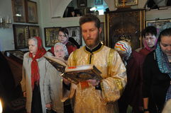 Episcopal service in the Orthodox Church in the city of Gomel. Bishop Stephen Stock Photo