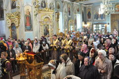 Episcopal service in the Orthodox Church in the city of Gomel. Bishop Stephen. Royalty Free Stock Photos