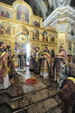 Episcopal service in the Orthodox Church in the city of Gomel. Bishop Stephen. Stock Photo
