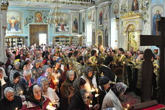 Episcopal service in the Orthodox Church in the city of Gomel. Bishop Stephen. Royalty Free Stock Images