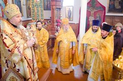 Episcopal service in the Orthodox Church in the city of Gomel. Bishop Stephen. Royalty Free Stock Image