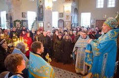 Episcopal service in the Orthodox Church in the city of Gomel. Bishop Stephen. Royalty Free Stock Photo