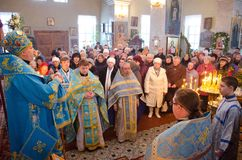 Episcopal service in the Orthodox Church in the city of Gomel. Bishop Stephen. Stock Images
