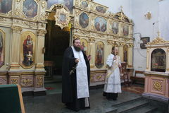 Episcopal service in the Orthodox Church in the city of Gomel Stock Photos