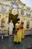 Episcopal service in the Orthodox Church in the city of Gomel Royalty Free Stock Photo
