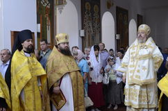 Episcopal service in the Orthodox Church in the city of Gomel Stock Photo