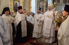 Episcopal service in the Orthodox Church in the city of Gomel Stock Image