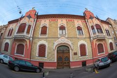 EPISCOPY OF ORADEA. ORADEA, ROMANIA - JANUARY 27, 2018: Built in 1905, the building was the palace of the architect Rimanóczy Kálmán junior. In 1921 it was Royalty Free Stock Images